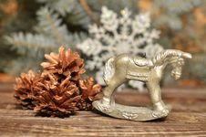 New Year`s Candle In The Form Of A Horse Royalty Free Stock Image