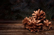 Free New Year`s Composition Of A Pine Cones Stock Photos - 35863943