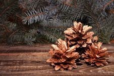 Free New Year`s Composition Of A Pine Cones Stock Photo - 35864090