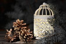 Free New Year`s Composition Of A Pine Cones And Vintage Christmas Candlestick Stock Photos - 35864193