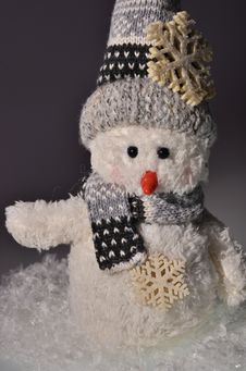 New Year`s Snowman And Snow Stock Photos