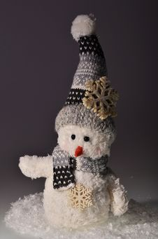 New Year`s Snowman And Snow Stock Photography