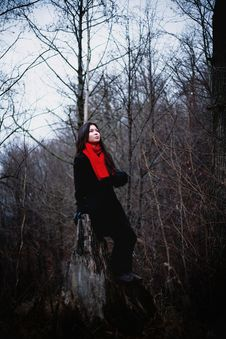 Free Woman In Black Coat And Red Scarf Sitting In Cold Dark Forest Stock Photo - 35865490