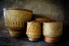 Free Wooden Rice Box Thai Style Still Life Stock Photography - 35865662