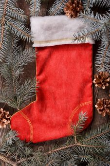 Free Composition Of A Red Christmas Sock And Fir Branches Royalty Free Stock Image - 35866366
