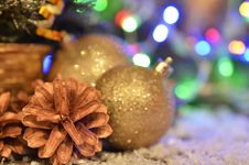 Christmas Balls And Christmas Garlands Stock Photo