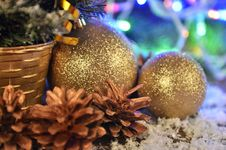 Christmas Balls And Christmas Garlands Stock Images