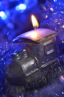Free Composition Of A Candle And Tinsel Stock Image - 35867911