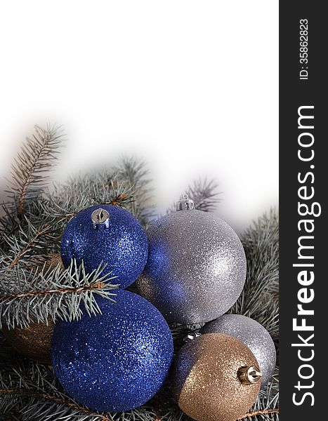 Christmas balls and needles on a white background