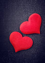 Free Two Red Hearts On A Black Board Royalty Free Stock Photos - 35872228