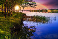 Free Mountain Lake Near Forest Stock Image - 35873911