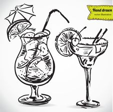 Hand Drawn Illustration Of Cocktail. Royalty Free Stock Image
