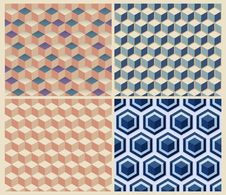 Free Seamless Geometric Cube Background Set. Stock Photos - 35872433