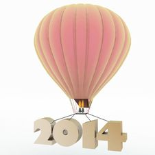 Free 2014 Year Flies On A Balloon Stock Image - 35872761