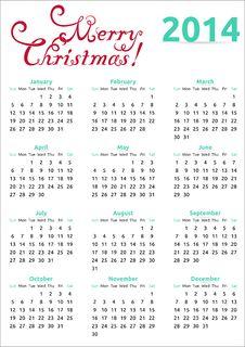 Free 2014 Christmas Calendar Stock Image - 35879831