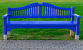 Free Blue Wooden Bench On Green Grass Stock Images - 35881434