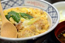 Free Japanese Cuisine, Katsudon Pork Cutlet With Fried Egg On Rice Stock Image - 35882161