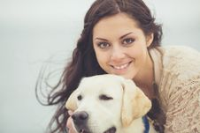 Free Young Woman, Dog Labrador Stock Image - 35885611