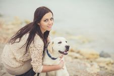 Free Young Woman, Dog Labrador Stock Photography - 35885632