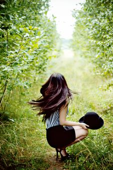 Free Fashionable Woman Waving Her Hair In Green Forest Royalty Free Stock Photos - 35889598