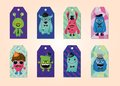 Free Tags Collection With Hipster Monsters Royalty Free Stock Image - 35899596