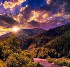 Mountain River Near Forest Royalty Free Stock Photography