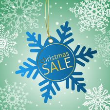 Free Snowflake Sale Tag On A Snowy Background Stock Images - 35897324