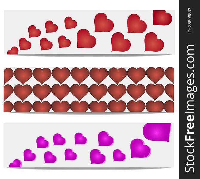 Vector illustration heart banner