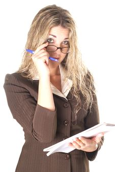 Sexy Assistant Taking Notes Pu Royalty Free Stock Photo