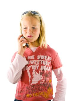 Young Girl On The Phone Stock Image
