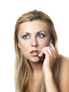 Girl Speaking Phone Stock Image