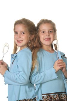 Free Twin Girls Baking Vertical Upc Stock Images - 3592554