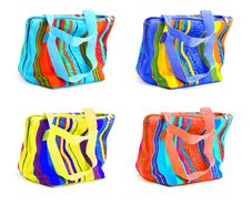Four Multicolored Bags Stock Photo