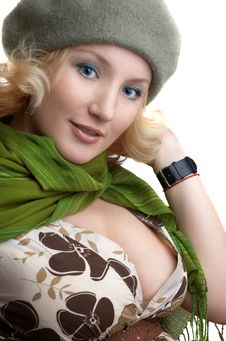 Cute Blond With Green Scarf Royalty Free Stock Photo