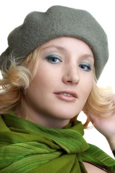 Cute Blond With Green Scarf Royalty Free Stock Image