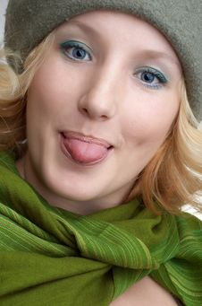Free Cute Blond With Green Scarf Stock Photos - 3593823