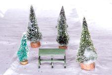 Free Christmas Village Park Bench Stock Photos - 3594293