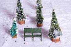 Free Christmas Village Park Bench Royalty Free Stock Images - 3594359