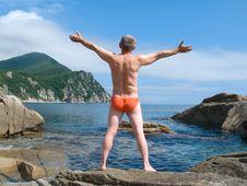 Man On Seacoast 14 Royalty Free Stock Photography