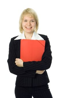 Free Business Woman With Red Folder Royalty Free Stock Photography - 3596147