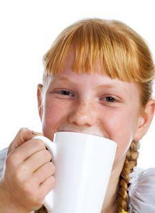 Free Girl With A Milk Mug Royalty Free Stock Photography - 3596997