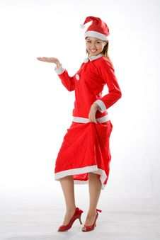 Cute Santa With Left Hand Out Royalty Free Stock Photography