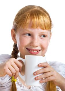Free Girl With A Milk Mug Royalty Free Stock Photo - 3597745