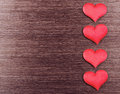 Free Four Red Hearts On A Dark Wooden Board Stock Photos - 35904723