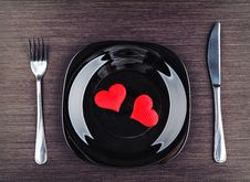 Free Plate, Fork, Knife And Red Heart Royalty Free Stock Image - 35904596