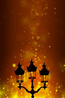 Free Christmas Greeting Card - White Night With Stars And Street Lamp Royalty Free Stock Images - 35905329