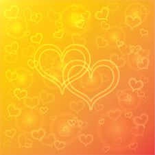 Free Vector Abstract Orange Background With Hearts Stock Photos - 35908943