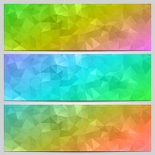 Free Vector Set Of Multicolor Banners With Abstract Stock Photography - 35909262