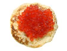 Pancake With Red Caviar Stock Image