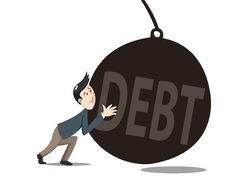 Free Man Pushint The Debt Stock Photography - 35920432